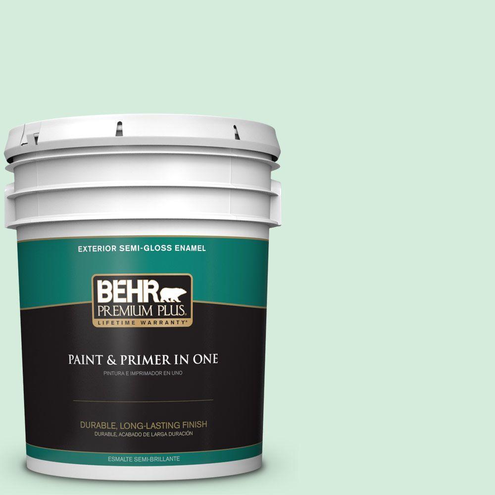 BEHR Premium Plus 5-gal. #470C-2 Winter Fresh Semi-Gloss Enamel Exterior Paint
