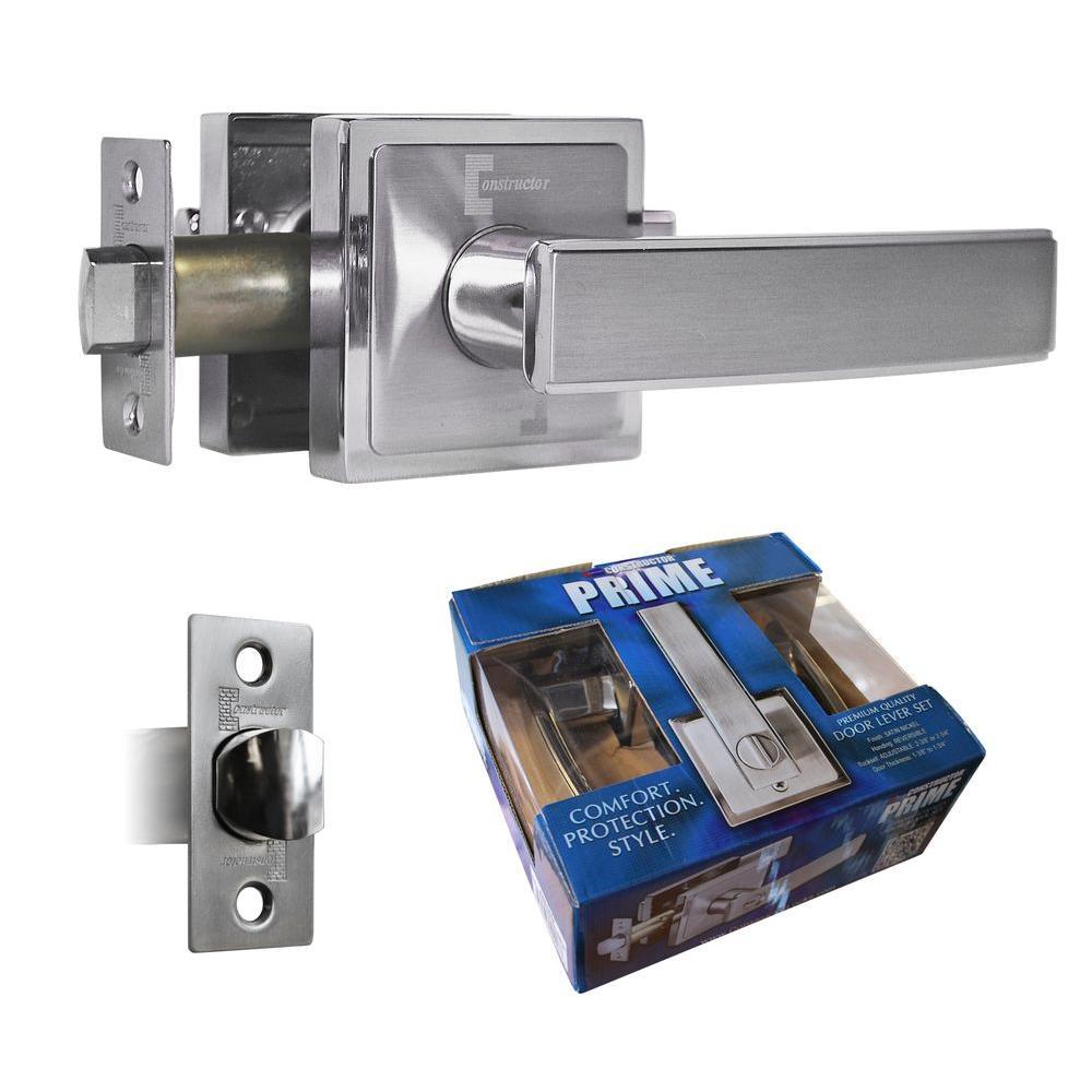 Satin Nickel Finish Premium Passage Door Lever Lock Set