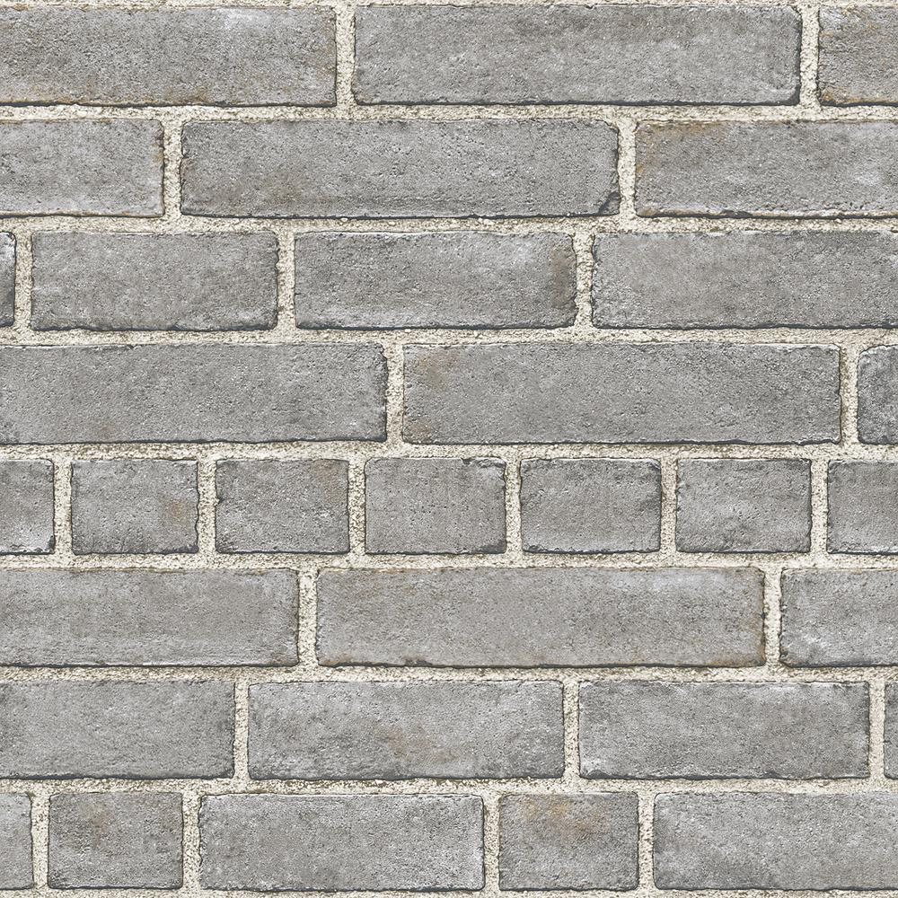 Nuwallpaper 30 8 Sq Ft Grey Brick Facade Peel And Stick
