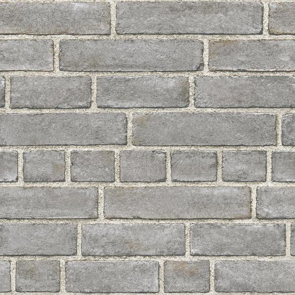 NuWallpaper 30.8 sq. ft. Grey Brick Facade Peel and Stick Wallpaper