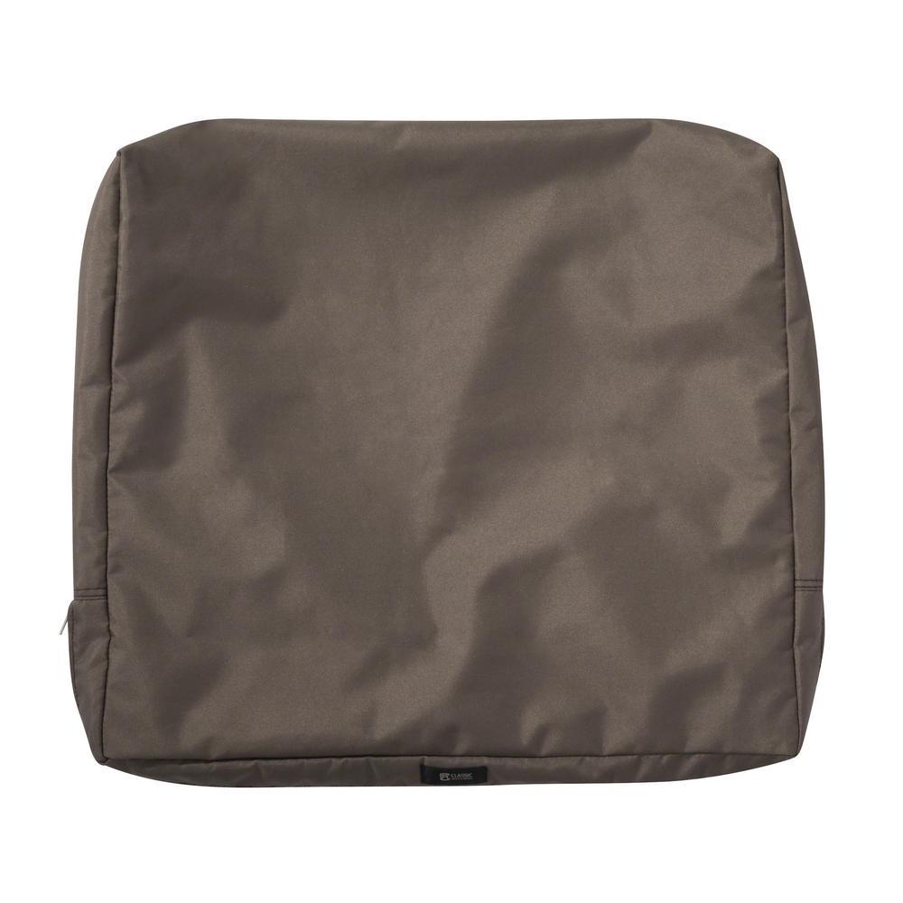 Ravenna 21 in. W x 20 in. H x 4 in. D Patio Back Cushion Slip Cover in Dark Taupe