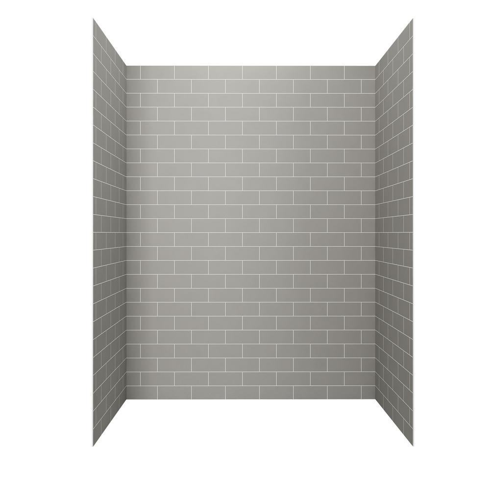 AMERICAN STANDARD Passage 60-in. x 32-in. 4-Piece Glue-Up Alcove Shower Walls in Gray Subway Tile