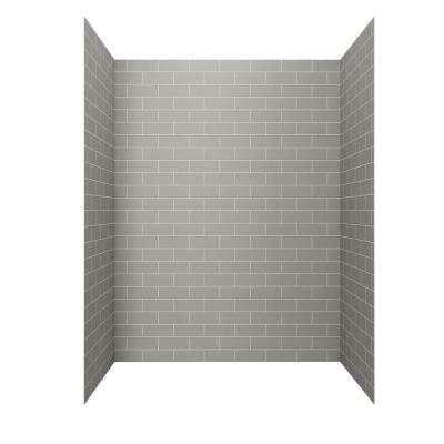 Passage 60-in. x 32-in. 4-Piece Glue-Up Alcove Shower Walls in Gray Subway Tile