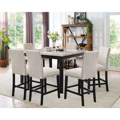 Azul 7 Piece Espresso And Ivory Dining Set: Marble Table And 6 Fabric