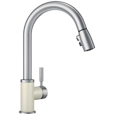 Sonoma Single-Handle Pull-Down Sprayer Kitchen Faucet in Biscuit/Stainless
