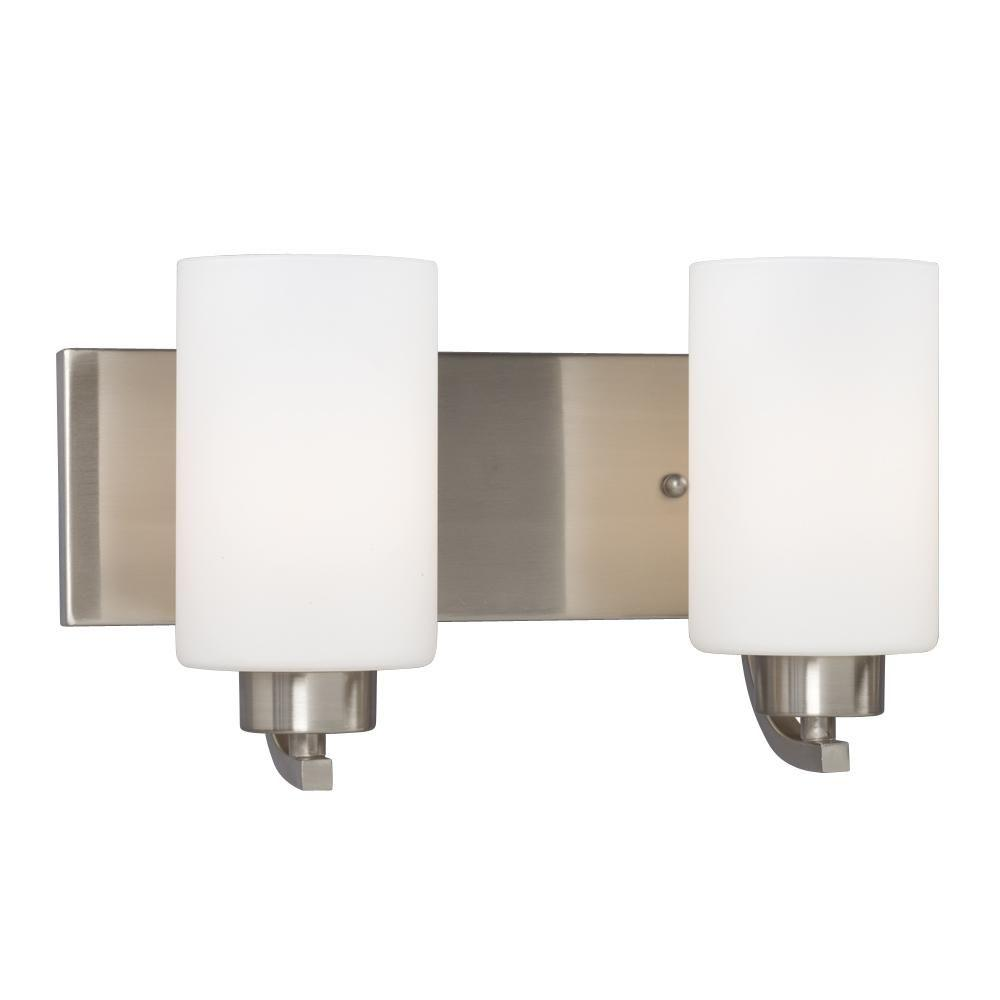 Carmen 2-Light Brushed Nickel Bath Vanity Light