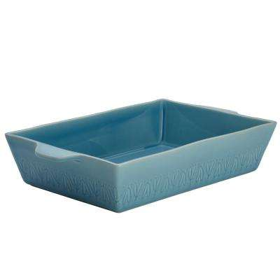 Home Collection 9 in. x 13 in. Twilight Teal Ceramic Rectangular Baker
