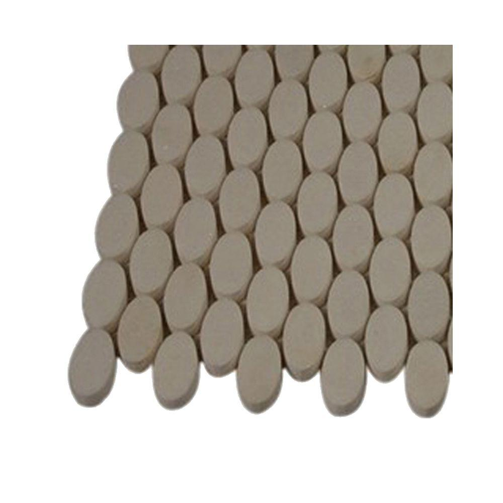 Orbit White Thassos Ovals Marble Mosaic Floor and Wall Tile -