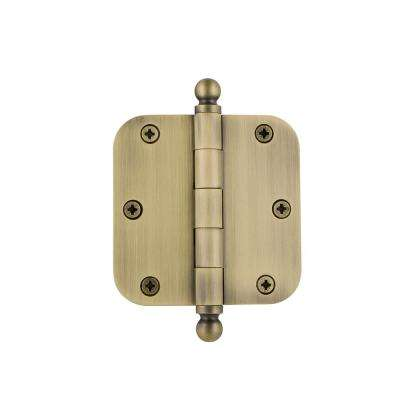 3.5 in. Ball Tip Residential Hinge with 5/8 in. Radius Corners in Vintage Brass