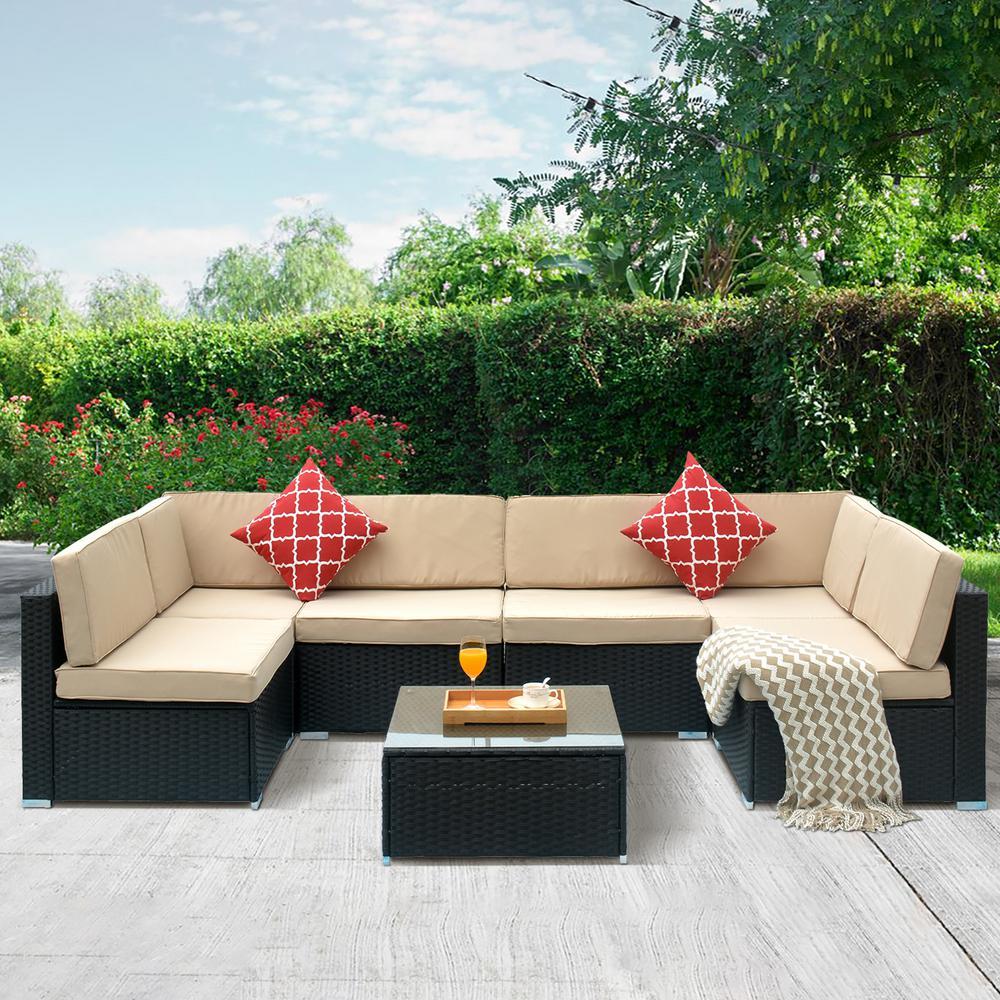 7-Piece Wicker Patio Conversation Set with CushionGuard Beige Cushions
