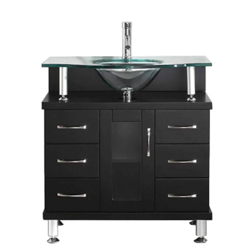 Virtu USA Vincente 32 in. W Bath Vanity in Espresso with Glass Vanity Top in Clear Mint Green with Round Basin