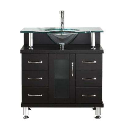 Vincente 32 in. W Bath Vanity in Espresso with Glass Vanity Top in Clear Mint Green with Round Basin