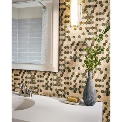 Kensington Hexagon 12 in. x 12 in. x 8 mm Glass and Stone Mesh-Mounted Mosaic Wall Tile (10 sq. ft. / case)