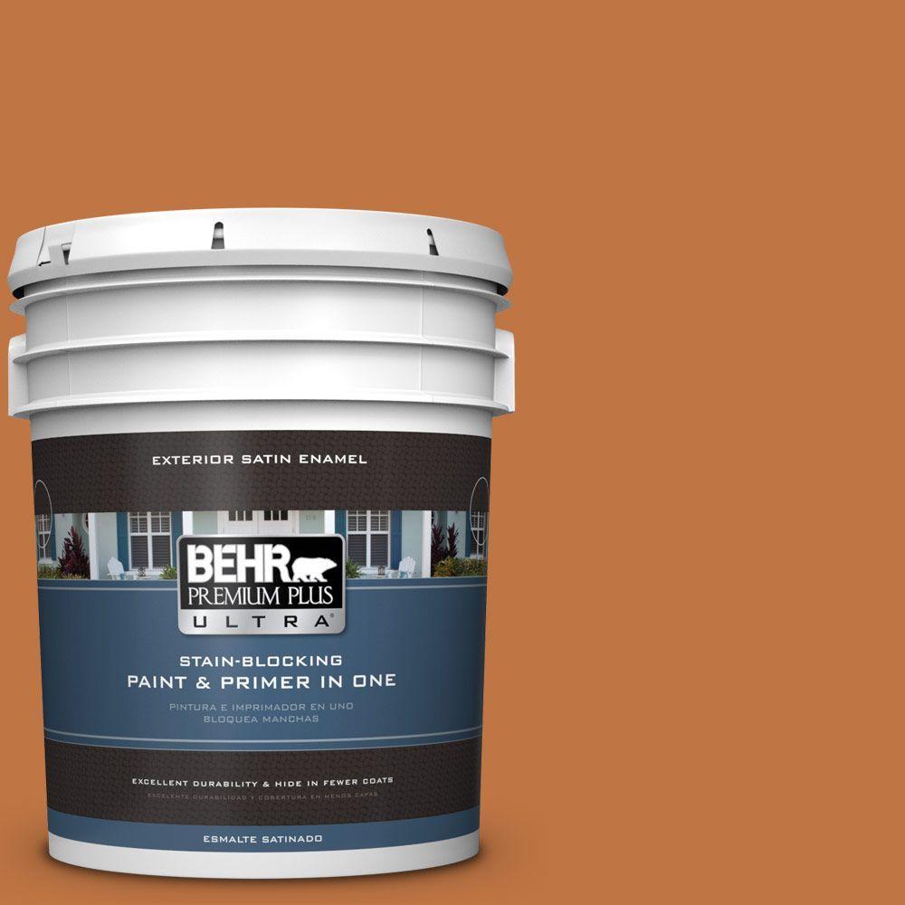 BEHR Premium Plus Ultra 5-gal. #PPU3-2 Marmalade Glaze Satin Enamel Exterior Paint