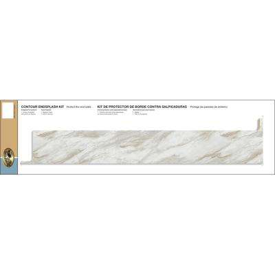 Ora Laminate Reversible Contour End Splash Kit in Drama Marble
