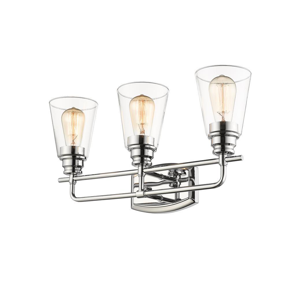 Filament Design Aurora 3-Light Chrome Bath Light with Clear Glass Shade