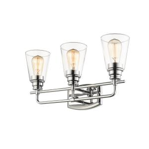 Aurora 3-Light Chrome Bath Light with Clear Glass Shade