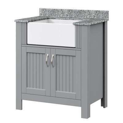 Mason 31 in. W x 19 in. D Bath Vanity in Twilight Gray with Granite Vanity Top in Viscont White w/ White Farmhouse Sink