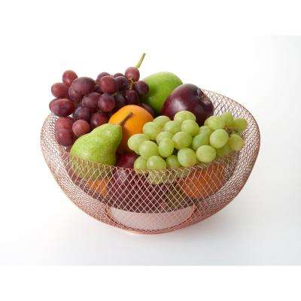Large Copper Mesh Fruit Bowl
