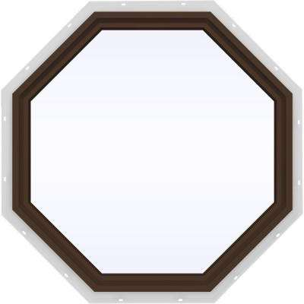 35.5 in. x 35.5 in. V-4500 Series Fixed Octagon Vinyl Window - Brown