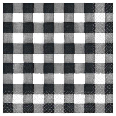 6.5 in. x 6.5 in. Black and White Checkered Paper Thanksgiving Lunch Napkins (5-Pack)