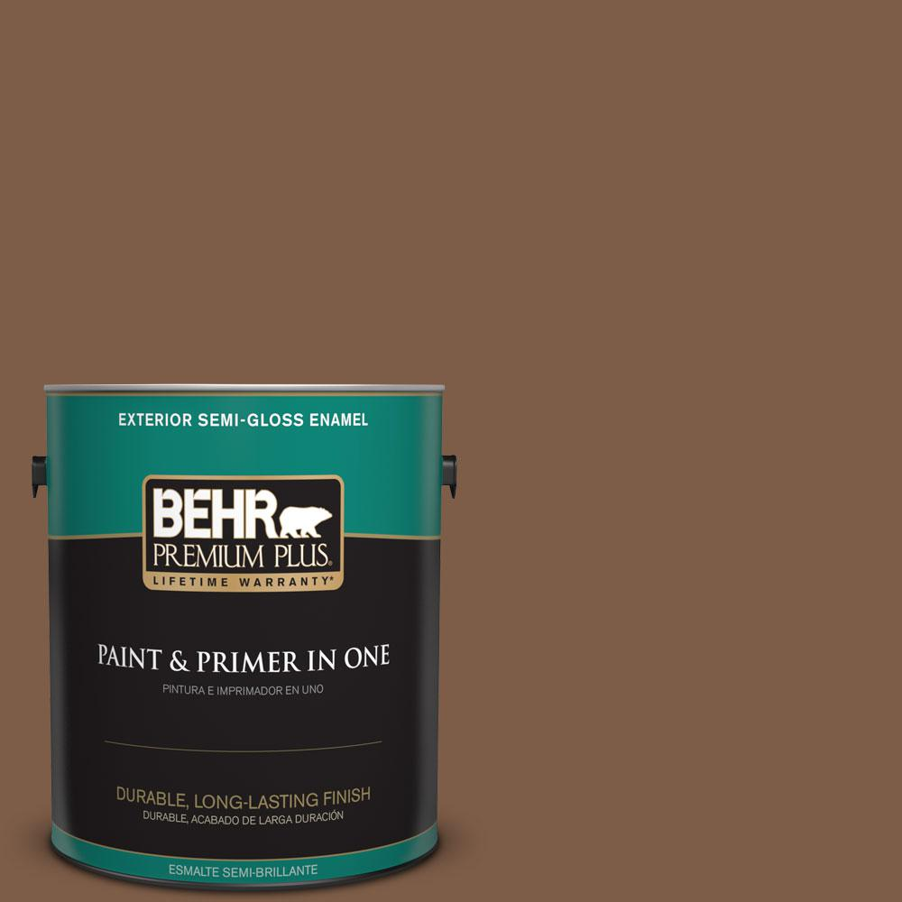 1-gal. #BXC-65 Outback Brown Semi-Gloss Enamel Exterior Paint