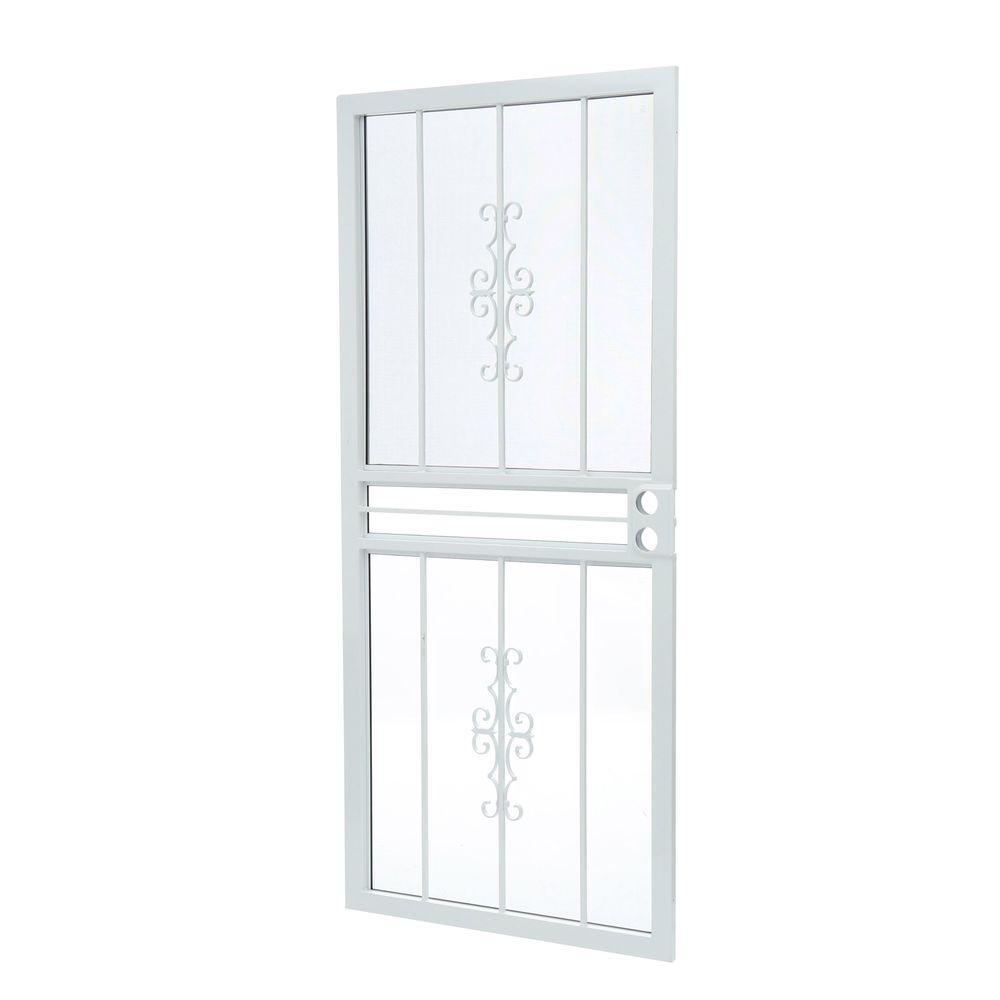 Grisham 36 in. x 80 in. 501 Series Genesis Steel White Prehung Security Door