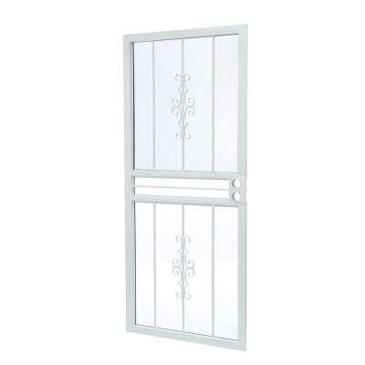 36 in. x 80 in. 501 Series Genesis Steel White Prehung Security Door