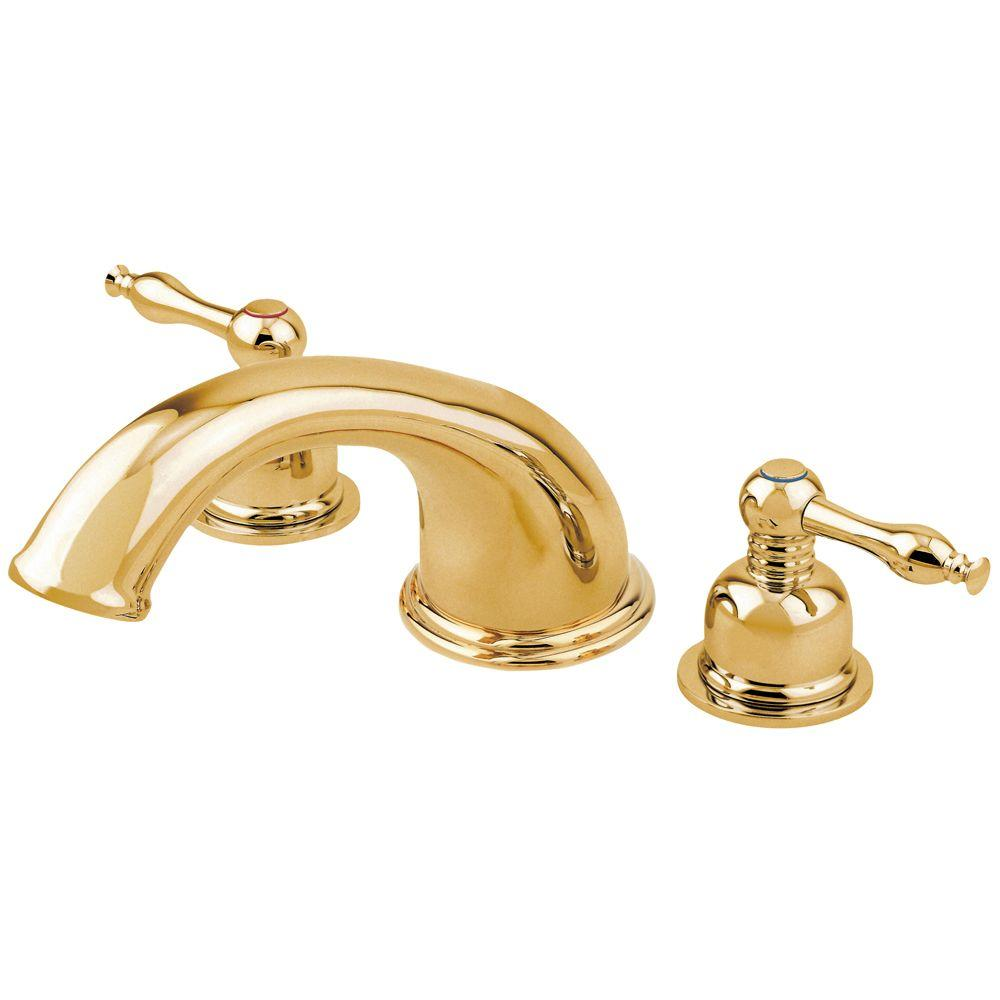 Danze Sheridan 2-Handle Widespread Roman Tub Faucet in Polished Brass