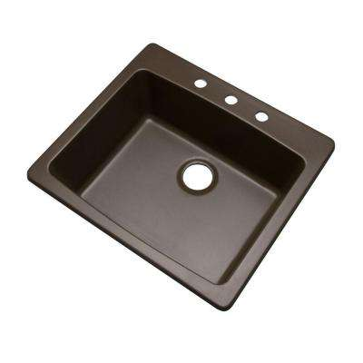 Northbrook Drop-In Composite Granite 25 in. 3-Hole Single Bowl Kitchen Sink in Mocha
