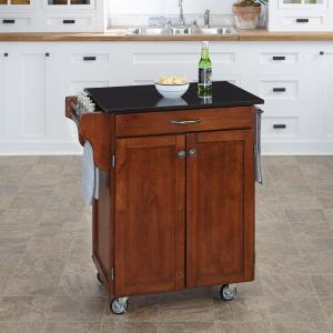 Home Styles Create A Cart Cherry Kitchen Cart With Black Granite  Top 9001 0074   The Home Depot