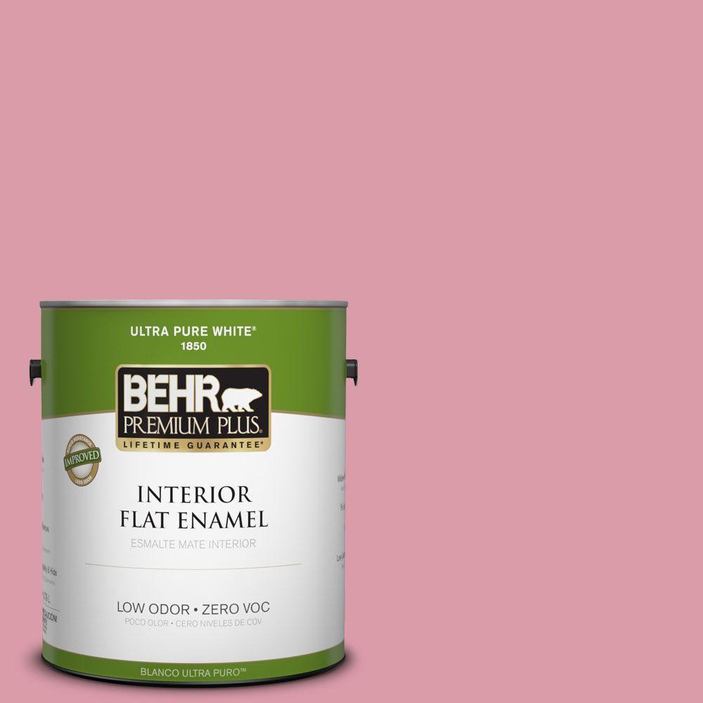BEHR Premium Plus 1-gal. #110C-3 Glamour Zero VOC Flat Enamel Interior Paint-DISCONTINUED