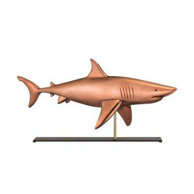 Shark Copper Table Top Sculpture - Nautical Home Decor