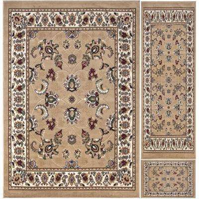 Paterson Collection Traditional Oriental Design Beige 5 ft. x 7 ft. 3-Piece Rug Set