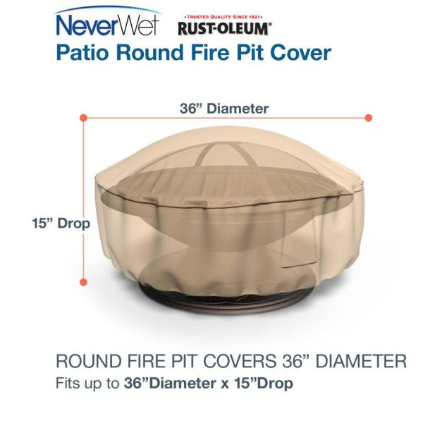 Reviews For Budge Rust Oleum Neverwet 36 In Dia 15 In Drop Tan Outdoor Fire Pit Cover P9a15tnnw1 The Home Depot