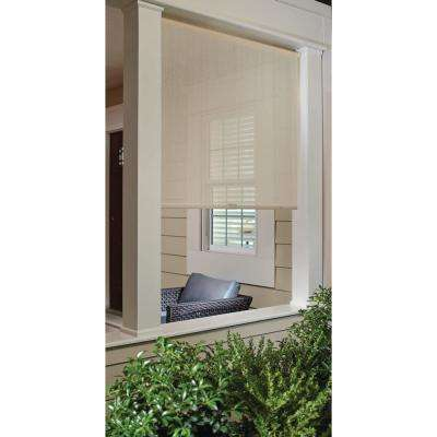 Coffee Cord-Free Easy Lift Spring Action High-Density Polyethylene Exterior Roller Shade, 72 in. L