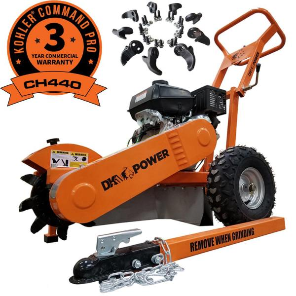 Detail K2 12 in. 14 HP Gas Powered Commercial Stump Grinder with Towbar & Extra Cutting Teeth, 3-Year Kohler & 1-Year DK2 Warranty