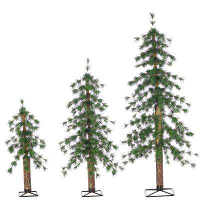 Set of 2, 3, and 4 ft. Un-Lit Hard Needle Alpine Artificial Christmas Trees with Natural Looking Metal Trunk (3-Piece)