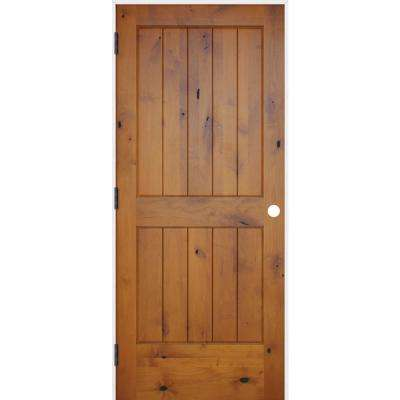 28 in. x 80 in. Rustic Prefinished 2-Panel V-Groove Solid Core Wood Single Prehung Interior Door with Prime Jamb