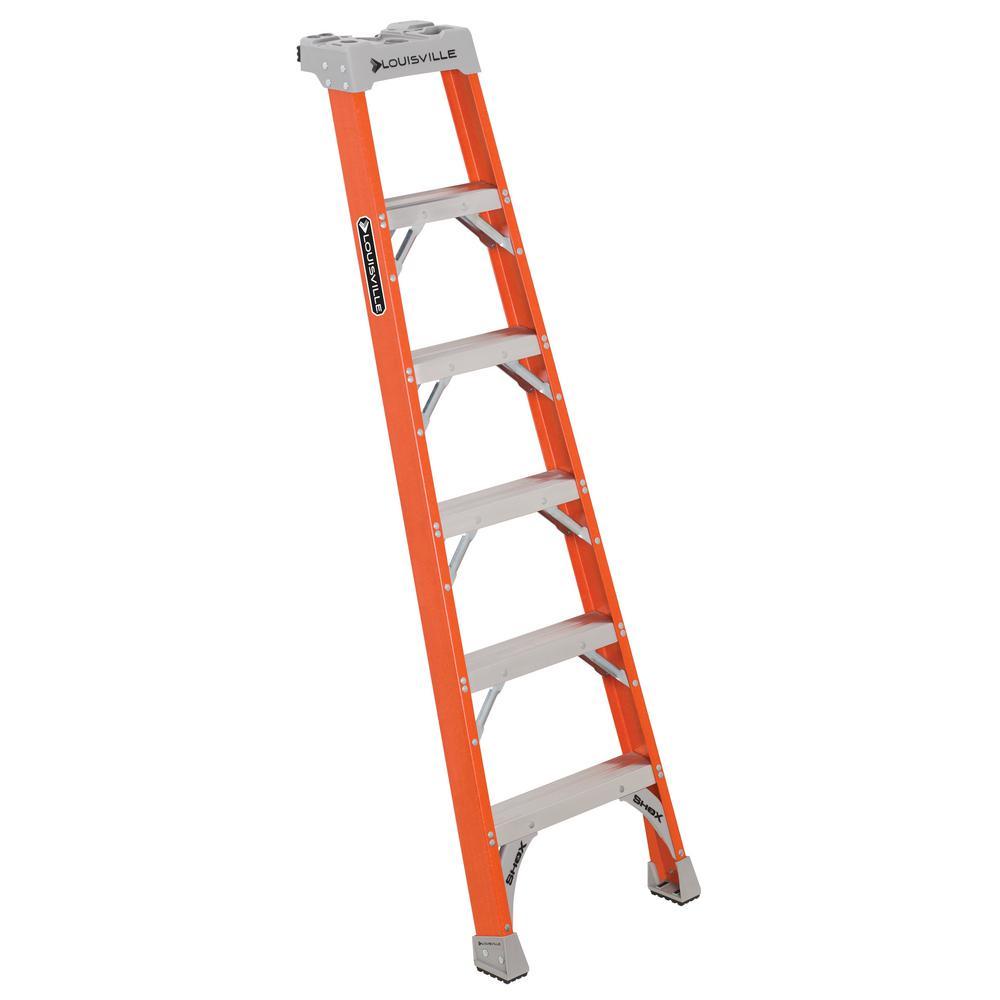 6 ft. Fiberglass Pro Shelf Ladder with 300 lbs. Load Capacity