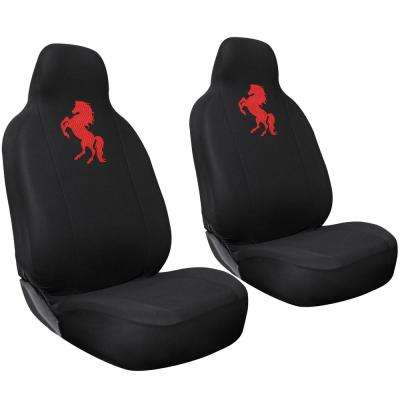 Polyester Set Cover Set 24 in. L x 21 in. W x 40 in. H 2-Piece Embroidered Horse Red Seat Cover Set