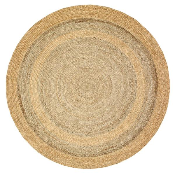Natural Jute Natural/Gray Round 8 ft. x 8 ft. Indoor Area Rug