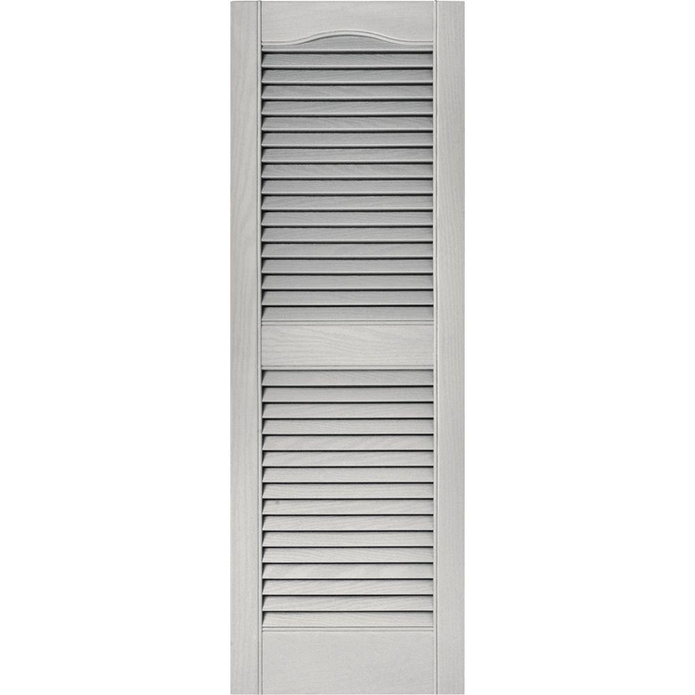 Builders Edge 15 in. x 43 in. Louvered Vinyl Exterior Shutters Pair in #030 Paintable