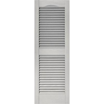 15 in. x 43 in. Louvered Vinyl Exterior Shutters Pair in #030 Paintable