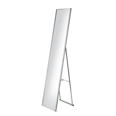 Alice 59 in. H x 16 in. W Folding Stand-Up Rectangular Mirror in Powder-Coated Champagne Steel