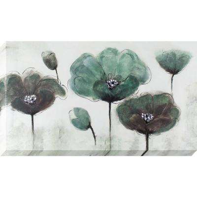 48 in. x 24 in. Teal and Grey Poppy Field Oil Painted Canvas Wall Art