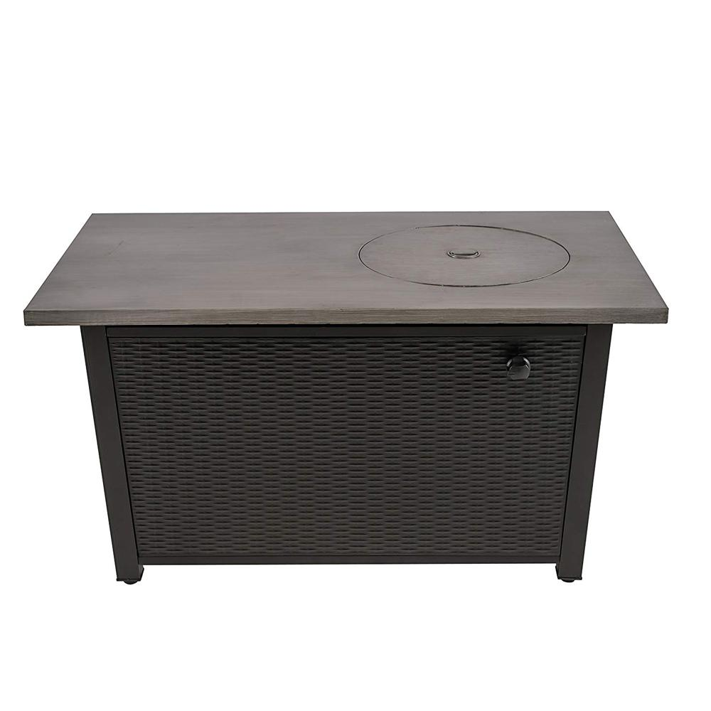 Legacy Heating 48 in. W x 26 in. H Rectangular Steel Wicker Base Propane Fire Pit with Brushing Table Top in Grey