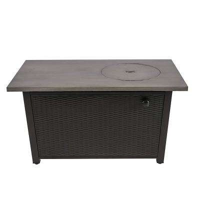 48 in. W x 26 in. H Rectangular Steel Wicker Base Propane Fire Pit with Brushing Table Top in Grey