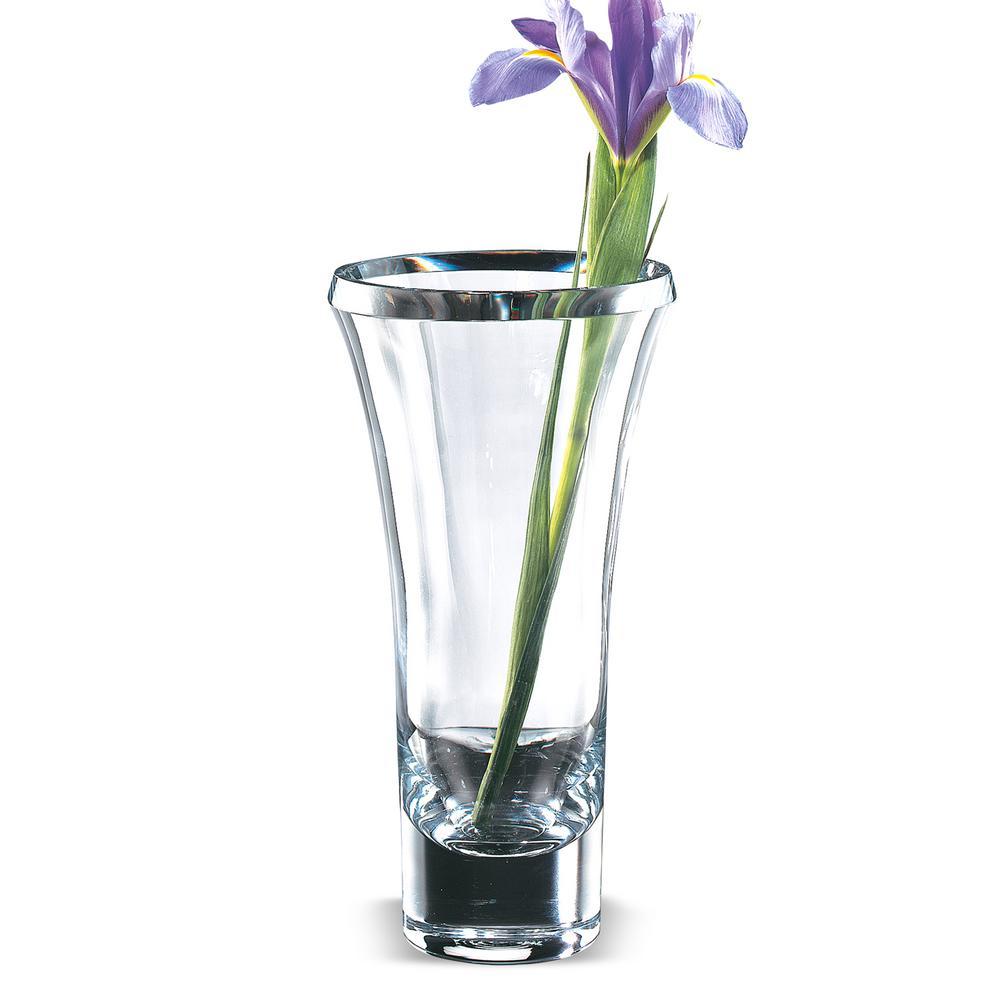 Beveled Trillion Clear European Mouth Blown Crystal Radiant Decorative Vase