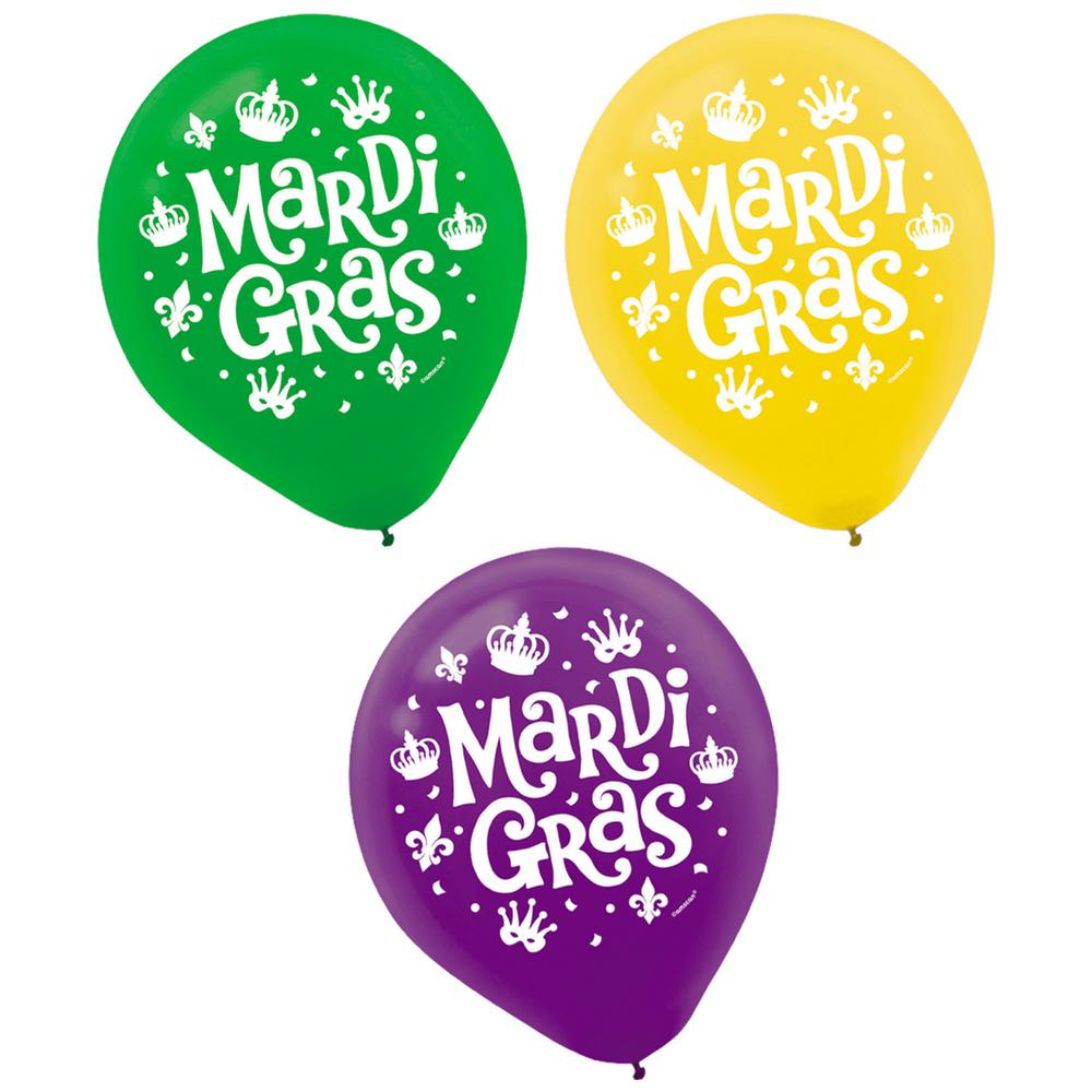 12 in. Mardi Gras Green, Purple and Gold Latex Balloons (15-Count,